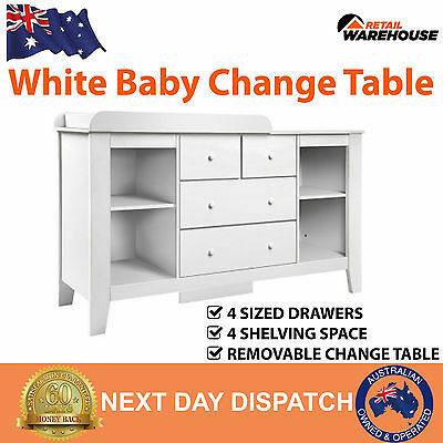 New White Baby Change Table Chest Of Drawers Storage Dresser Cabinet 4 Shelves