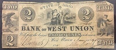 1839 Obsolete $2 Note - The Bank Of West Union - West Union , Ohio