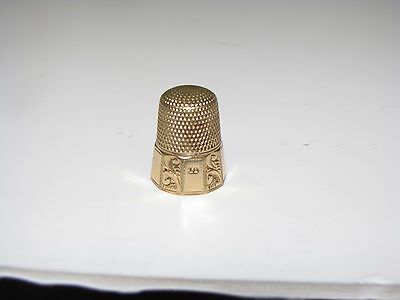 SIMONS BROTHERS GOLD FILLED (TREFOIL MARK)  c1900 THIMBLE-  SIZE 10