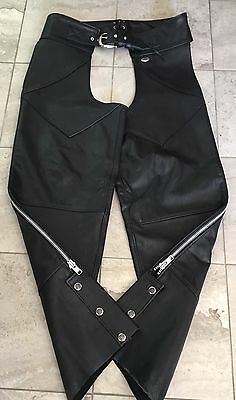 Harley Davidson Mens Genuine Black Leather Chaps Size Large