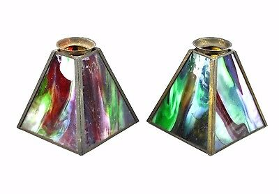 Pair Antique Mission Arts & Crafts Slag Glass Lamp Shade Sconce Green Red Swirls