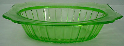 JEANNETTE GLASS crystal ADAM GREEN pattern OVAL VEGETABLE Serving BOWL 9-5/8""