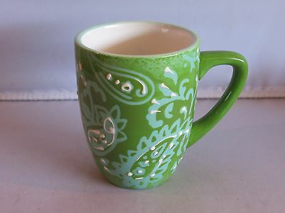 Laurie Gates GREEN, TEAL AND WHITE PAISLEY Coffee Mug - NEW