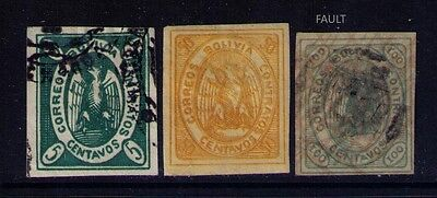 Bolivia Classic Stamps SC# 2a,5,8 Used/MH 100c fault Cat.$112