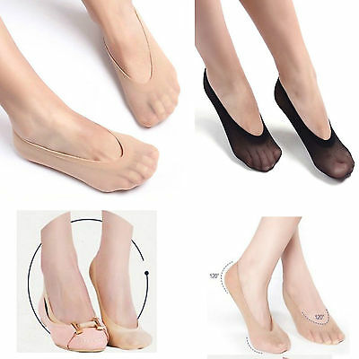 1,2,6Pair Women's Ladies Nonslip Invisible Foot Liner Shoe Liner Socks UK 4-7