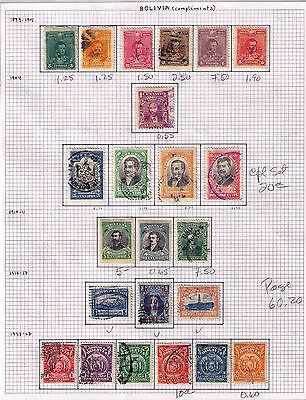 BOLIVIA Stamps 1899-1927,Classic Issue SC#64//135 Selection Used/MH Cat.$60
