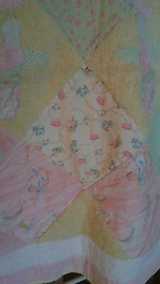 Baby girl Pastels pink blue yellow green minky gingham Angel patchwork quilt