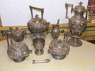 MASSIVE S. KIRK AND SON 8 PIECE STERLING TEA SET 302 troy ounces