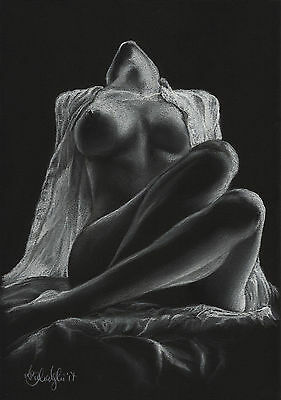 Nude Female Study Art Original Pastel Drawing A4 Size