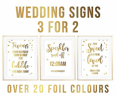 A4 Foil Quote Wedding Sign Guestbook Table Numbers Photobooth Print Reception