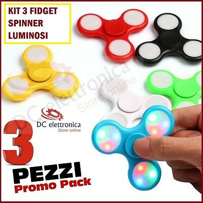 3 Fidget Spinner Led Luminoso Gioco Rilassante Cuscinetto Anti Stress Tascabile