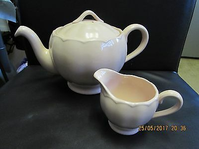 Vintage 1940's Grindley England Peach petal Teapot  and milk jug
