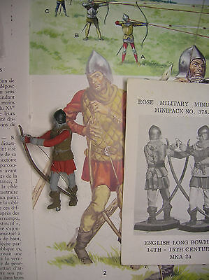 Arciere Inglese con arco lungo-XIV°sec.-soldatino in piombo 54mm-ROSE MINIATURES