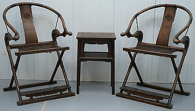 Rare Circa 1880 Pair Of Chinese Horseshoe Folding Chairs & Side Table Rare Find