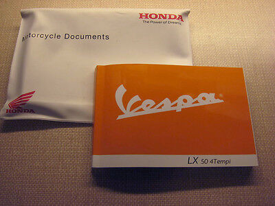 PIAGGIO VESPA LX50 4Tempi OWNERS MANUAL HANDBOOK in Honda wallet
