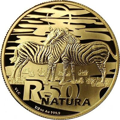 2013 South African Natura-The Zebra 1/2oz (R50) pure gold coin 999.9%