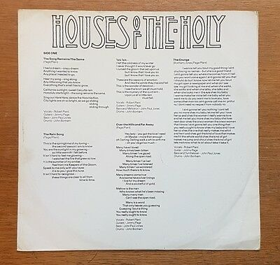 Led Zeppelin ‎– Houses Of The Holy - UK LP (1973) A2/B2 inner sleeve and record