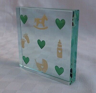 Spaceform New Parent Gift Glass Baby Motif Paperweight RRP £24.95