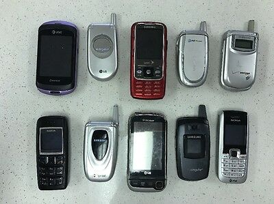 Lot Of 10 Flip Phones.  Samsung .  LG.  Nokia. And More!     (37)