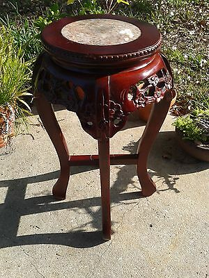 Chinese lacquered hardwood plant stand with marble top