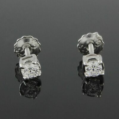 1/3 Ct VVS1 14K White Gold Over Round Solitaire Stud Earrings Screw Back