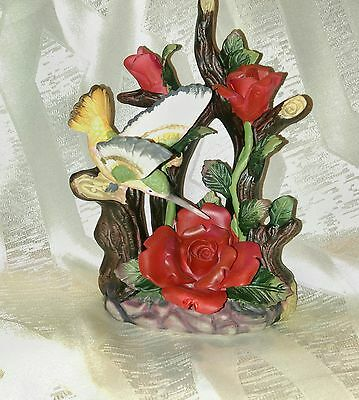 Humming Bird and Red Roses Figurine