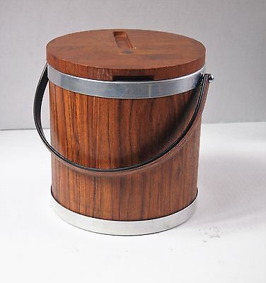 Vintage Faux Wood Ice Bucket and Tongs