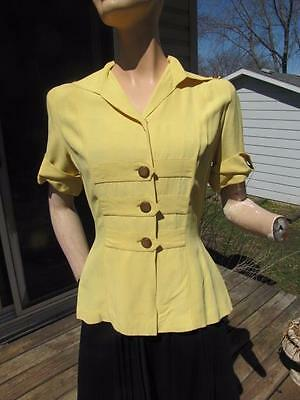 Vintage 1940S Yellow Rayon Gabardine Fitted Blouse Top Shirt Sm 26W