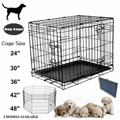 Pet Dog Puppy Cage 8 Panel Foldable Play Pen Run Fence Crate Outdoor Indoor