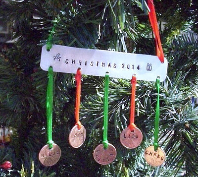 Personalized Hand-Stamped Family Penny Christmas Tree Ornament - Hand Crafted
