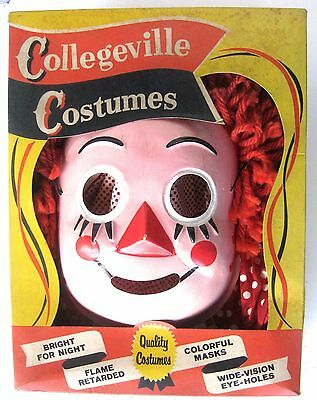 Vtg 1960'S COLLEGEVILLE Rag Doll Raddedy Ann Style HALLOWEEN COSTUME MASK & BOX