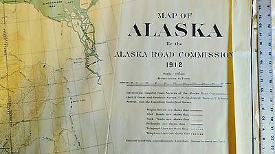Alaska Road Wall Map 1912 Anchorage, Yukon, Mackenzie River, Arctic Ocean