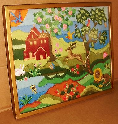 Vintage Framed Colorful Crewel - House Rabbit Lion Buck Trees Flowers Wall Art