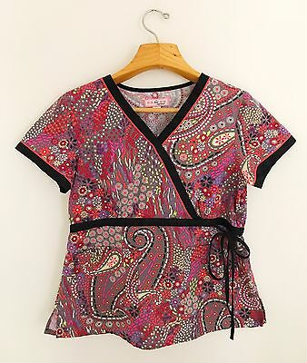 KOI BY KATHY PETERSON Women's Scrub Top Size M Red Black Multicolor Side Tie
