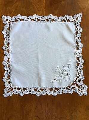 Vintage Hand Crocheted & Embroidered White Doily 40cm Linen Centrepiece Crochet