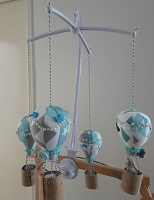 Baby Crib mobile for Childs Nursery  Hot Air Balloons in Mint Grey White Silver