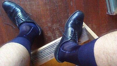 GENUINE WRAP - MENS VINTAGE 1950s NOS NAVY BLUE SHEER w/ACCENT RAYON DRESS SOCKS