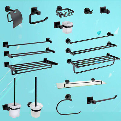 Square/Round BLACK Towel Rail Hook Toilet Paper Holder Brush Bathroom Accessory