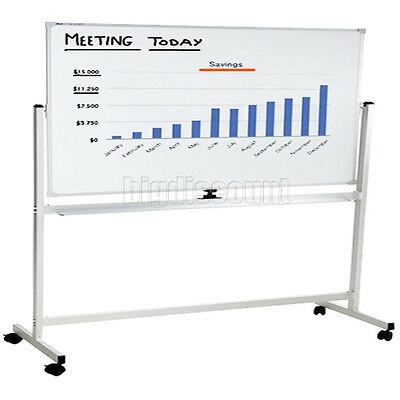 Mobile Magnetic Whiteboard 180x90cm Double Sided Office White Board With Stand
