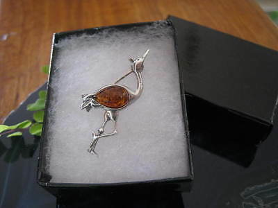 Genuine Baltic Amber and Solid 925 Sterling Silver Hand Made Bird Brooch FPH