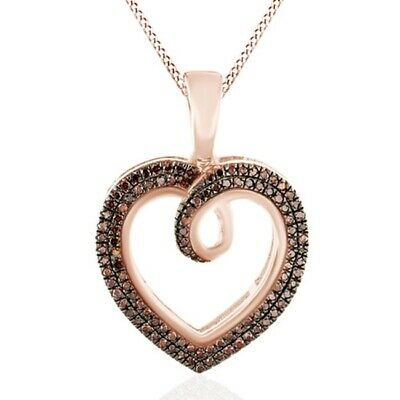 Holiday Sale 1/4Ct Red Real Diamond 14K Rose Gold Over Silver Heart Pendants