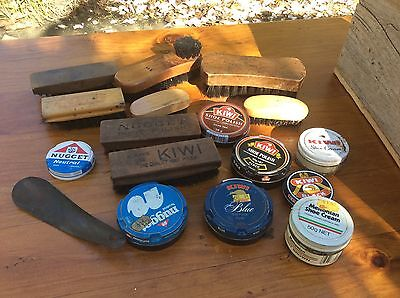 Vintage Boot Polish Tins And Brushes