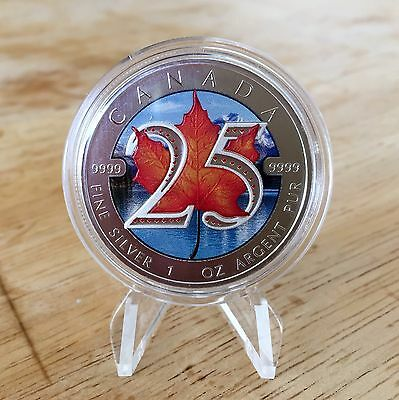 2013 Canada 25th Anniversary Privy 1oz 99.99% Silver Maple Leaf Coloured!