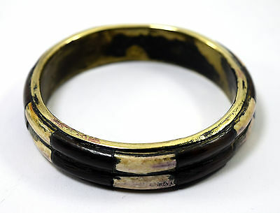 Rare Vintage Indian Jewelry Brass Bangle Wood Ivr Fittings Mosaic Bracelet.i8-54