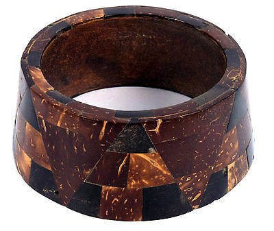 Vintage Jewelry Indian Stylist Wood Bangle Beautiful Mosaic Inlay Bracelet. i8-9