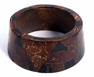 Vintage Jewelry Indian Wood Bangle Boho Beautiful Mosaic Inlay Bracelet. i8-15
