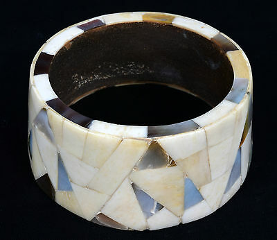 Indian Wood Bangle Beautiful Mosaic Bone Mother Of Pearl Inlay Bracelet. i8-7