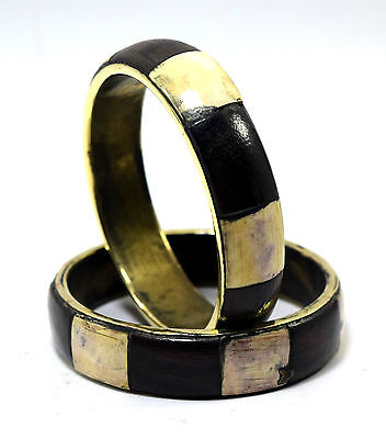 Pair Of Vintage Indian Brass Bangle Mosaic Wood Ivr Inlay Bracelet/Bangle. i8-40