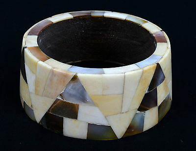 Vintage Indian Wood Bangle Bone & Mother Of Pearl Inlay Bracelet/ Bangle. i8-31