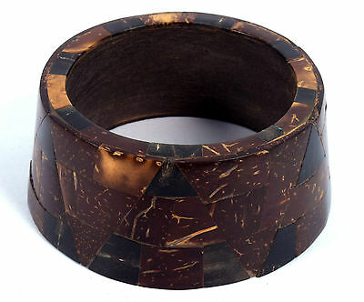 Vintage Jewelry Indian Wood Bangle Boho Beautiful Mosaic Inlay Bracelet. i8-21